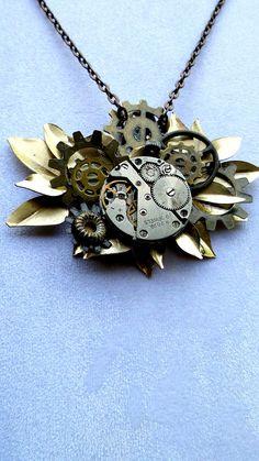 Steampunk Flower Necklace Vintage Watch by VintageMemoryJewelry, $45.00