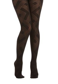 Geometric Artist Tights. Your mathematically-influenced sketches showcase optical illusions, but these black geo-print tights are a stylish certainty. #black #modcloth