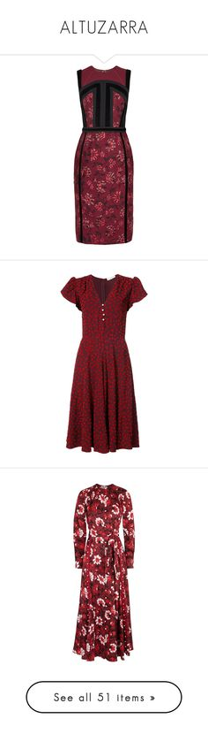 """ALTUZARRA"" by mari-sv ❤ liked on Polyvore featuring dresses, flower pattern dress, red floral print dress, panel dress, flower print dresses, floral dresses, altuzarra, red, burgundy red dress and cap sleeve dresses"