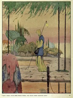 """Illustration by Harry Clarke to accompany the poem by W. B. Yeats """"The Lake Isle of Innisfree"""""""