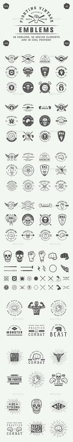 Vintage Fighting Emblems Templates PSD, Vector EPS, AI Illustrator