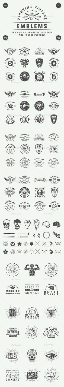 Vintage Fighting Emblems - Badges & Stickers Web Elements