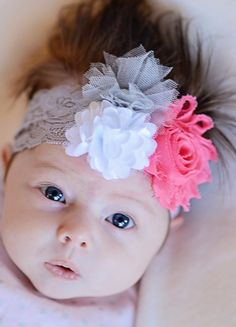 Pink Shabby Chiffon, White mesh pom, Grey Tulle Flower on a Grey Elastic Headband Infant Baby Toddler child Girl Teen Adult tween