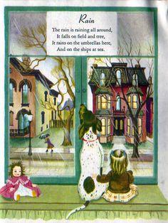 """A Child's Garden of Verses"", Little Golden Books, 1957 (reissue) Poems by Robert Louis Stevenson Illustrations by Eloise Wilkin ""Rain"""