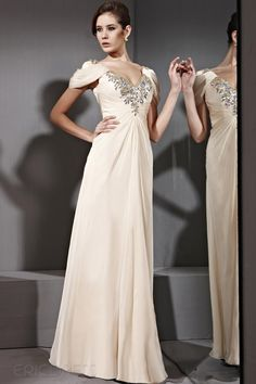 Charming Sheath/Column V-Neck Short Sleeves Evening Dress Luxury Ready to Wear Dresses- ericdress.com 8890068