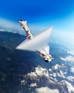 Skydiver Felix Baumgartner breaking sound barrier