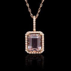 This mesmerizing 14k rose gold pendant necklace, features 1 radiant cut morganite stone, of exquisite color, weighing 1.48 carats and round brilliant cut white diamonds, F color, VS2 clarity, of excellent cut and brilliance, weighing .14 carat total.