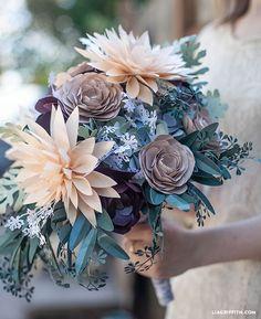 DIY Rustic Paper Flower bridal bouquet @LiaGriffith.com