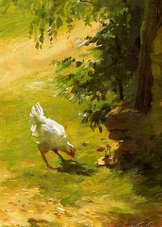 My grandmother kept chickens and I've always had a soft spot in my heart for them. Chicken Painting, Chicken Art, White Chicken, Rooster Painting, Autumn Painting, Art And Illustration, Landscape Paintings, Watercolor Paintings, Landscapes
