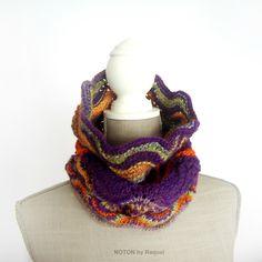 Multicolor Knit Cowl Winter Knit Scarf Circle by NOTONbyRaquel