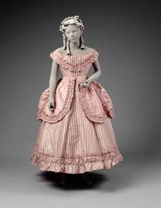 Girl's party dress in two parts (dress)  American, about 1865–70  United States  DIMENSIONS  99 cm (39 in.); Legacy dimension: CB: 40 in. CF: 39 in. Waist: 24 in.  MEDIUM OR TECHNIQUE  Silk; Striped silk taffeta trimmed with taffeta