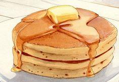 Panqueques Americanos Pancake Drawing, Food Drawing, Comida Picnic, Dessert Illustration, Cute Food Art, Food Clipart, Watercolor Food, Watercolour, Food Sketch