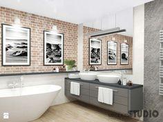 Znalezione obrazy dla zapytania cegła w łązience Bathroom, Vanity, Bathroom Vanity, Double Vanity