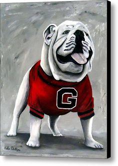 University Of Georgia Bulldog Painting - Damn Good Dawg Canvas Print / Canvas Art By Katie Phillips