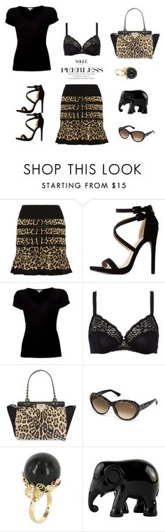 """Leopard"" by camilika ❤ liked on Polyvore featuring Roberto Cavalli, Charlotte Russe, James Perse, Maison Lejaby, Valentino, Swarovski, Vintage, The Elephant Family and leopard"