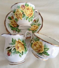 Your place to buy and sell all things handmade Vintage Tableware, Vintage Dishes, Vintage China, Tea Cup Saucer, Tea Cups, Yellow Bone, Yellow Cups, Cream And Sugar, Coffee Set