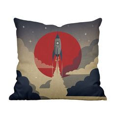 Get ready for takeoff! Toss this space-age pillow onto your favorite chair for a fun, fantastical touch. The retro styling splash of red add some adventurous whimsy to your ensemble. Choose either pill...  Find the Space Voyage II Throw Pillow, as seen in the Countdown to Sputnik Style Collection at http://dotandbo.com/collections/countdown-to-sputnik-style?utm_source=pinterest&utm_medium=organic&db_sku=114465