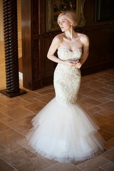 {Strapless Ivory 3D Embroidered Lace Mermaid Gown With Sweetheart Neckline & Tulle Skirt by Sareh Nouri Bridal Collection 2014························}