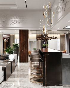 Magnificent kitchen-living room on Behance Fancy Kitchens, Brown Kitchens, Luxury Apartments, Luxury Homes, Luxury Interior, Modern Interior, Kitchen Interior, Kitchen Decor, Home Bar Rooms
