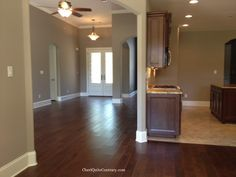 Exactly same color scheme as my house, two-toned grey walls, thick, white baseboards, and dark wood floors! i love it! Sherwin Williams Perfect Greige - main color of our house, with the darker shade (spalding grey) as accent walls