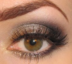 For green eyes - Gold, Champagne and Black. this is so pretty