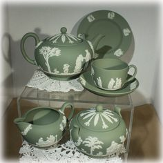 Mint Wedgwood Jasperware 27 piece tea and dessert service. This service for eight is in sage green and includes:    Teapot  Lidded Sugar  Cream