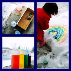 snow painting - loved this as a kid!  My mom would use empty dish liquid soap bottles to put the food coloring in as well! Beware of the yellow snow :)
