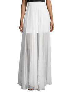 MILLY FLOWY SILK MAXI SKIRT W/ FRONT SLIT. #milly #cloth #