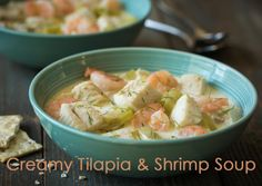 Looking for a different way to eat tilapia? If so, try this Creamy Tilapia & Shrimp Soup. | supersafeway.com #tilapia #shrimp #seafood #soup