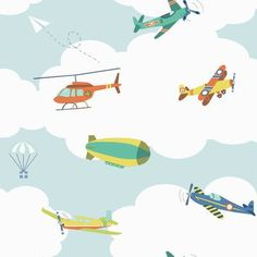 """York Wallcoverings Waverly Kids In 33' x 20.5"""" The Clouds Wallpaper Color: Light Blue, White, Turquoise, Teal, Yellow, Blue"""