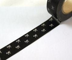 BLACK TINY BOWS Japanese Washi Paper Masking Tape-16.5 Yards. $3.95, via Etsy.
