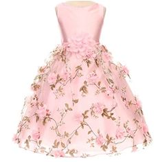 7a23d881985 Amazon.com  Big Girls Fabulous Taffeta Bodice Scattered Flower Over Organza  Floral Pattern Overlay Skirt Pink - Size 12  Clothing