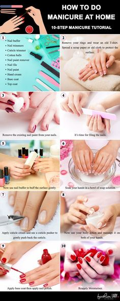 Manicure At Home: DIY Tutorial To Nail It! Learn how to do manicure at home step by step approach. This Manicure tutorial will help you to pamper your hands and feet after the polish of your nails. pedicure at home steps home manicure tips How To Do Manicure, Manicure Steps, Manicure And Pedicure, How To Nail Art, Nail Care Tips, Nail Tips, Nail Hacks, Nail Ideas, Beauty Nails