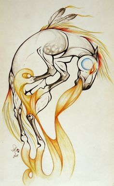 Horse Spirit - I was born in the year of the Horse. This might make an amazing tattoo! a war pony ever leaves your back. Tribal Tattoos, Tattoos Skull, Horse Drawings, Cartoon Drawings, Art Drawings, Native Art, Native American Art, Spirit Tattoo, Indigenous Art