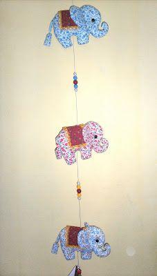 ARTES D' PANO - Marcio e Sandro  : móbile de elefantes
