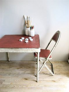 Child's Vintage Metal  Table and Two Metal by lovintagefinds, $98.00