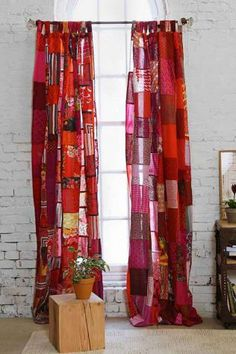 Magical Thinking Patchwork Curtain, via Urban Outfitters. Rag Curtains, Patchwork Curtains, Bohemian Curtains, Ceiling Curtains, Floor Ceiling, Window Curtains, Rag Quilt, Quilts, Magical Thinking