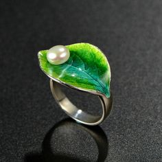 Only $8.90 Free Shipping - Green Leaf Handmade Cloisonne Enamel Freshwater Cultured Natural White Pearl Solid 925 Sterling Silver Adjustable Ring http://silverbene.com/green-leaf-handmade-cloisonne-enamel-freshwater-cultured-natural-white-pearl-solid-925-sterling-silver-adjustable-ring.html
