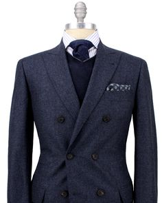 """better link than before.  Brunello Cucinelli Navy Mini Check Double Breasted Suit  Double Breasted Jacket  """"Soft"""" Construction Jacket  Partially Lined  PeakLapel  Flap Pockets  Ticket Pocket  Double Vents  Flat Front Pant  89% Wool, 6% Silk, 5% Cashmere  Made in Italy"""