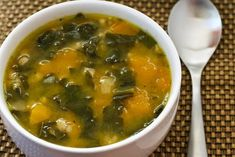 Autumn Harvest Soup with Butternut Squash, Kale, and Farro or Brown Rice from Kalyn's Kitchen  #LowGlycemicRecipe