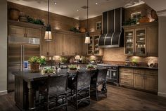 wooden kitchen color with dark cabinets