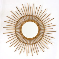 Large gorgeous vintage sun shaped rattan and bamboo mirror. Typical of the it is quite large with its maximum diameter of 78 cm. Sun Mirror, Bamboo Mirror, Metal Wall Decor, Diy Wall Art, Large Vintage Mirror, Diy Paso A Paso, Mirror Wall Collage, Minimalist Bedroom Small, Bamboo Crafts