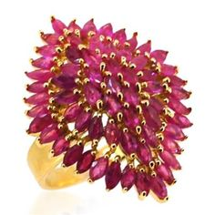 Burmese Ruby (Mrq) Cluster Ring in 14K Gold Overlay Sterling Silver 5.750 Ct.