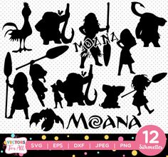 Princess Moana Silhouettes pack - Disney Princess Moana Silhouettes Collection vector clipart instant digital download svg, png, jpg, eps by VectorsForAll on Etsy