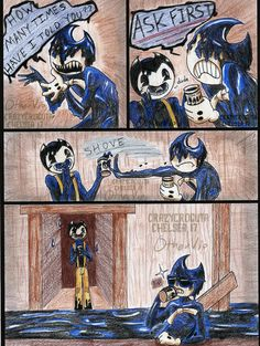 Sammy, didn't your mama ever teach you to ask first before taking? You're just lucky Ink Bendy was in a nice. Manners page 1 P. Manners Page 2 Bendy And The Ink Machine, Indie, Just Ink, Demon Art, Rpg Horror Games, Gifs, Funny Comics, Art Boards, Cute Art