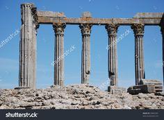 Ancient Classical Roman Columns On Sky Stock Photo 59855341 ...