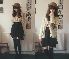 Shirt, Cardigan & Hat, Skirt