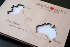 Unusual wooden wedding guest book bringing together two lovebirds from different parts of the world! | See more here: Unique Wedding Guest Book Ideas {Trendy Tuesday} | Confetti Daydreams ♥  ♥  ♥ LIKE US ON FB: www.facebook.com/confettidaydreams  ♥  ♥  ♥ #Wedding #WeddingTrends #GuestBook