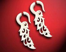 Fake Gauges - Ginger Floral Curls II - White Bone Earrings - Tribal Jewelry - B11