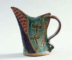 Handbuilt Stoneware Dragonfly Pitcher by PotterybyHelene on Etsy, $45.00